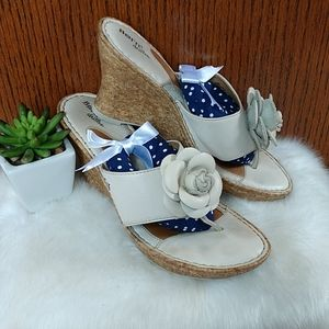 Born drilles cream colored leather Wedges. Size 9
